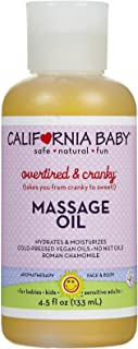 California Baby Overtired and Cranky Massage Oil | 100% Plant Based | Cold Pressed Vegan Oils for Arms, Legs, Back, and Body, Gentle on Sensitive Skin | Baby or Adult Use | (4.5 Ounces)