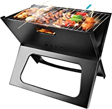 Portable Charcoal Grill, Moclever Space-saving & Foldable BBQ Barbecue Grill, Large Grilling Surface and Capacity Grill fo...