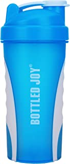 BOTTLED JOY Protein Shaker Bottle, Non-toxic Wide Mouth 100% Leak Proof Shake Water Bottles 27oz 800ml (Blue)