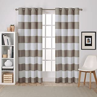 Exclusive Home Curtains Surfside Cabana Stripe Cotton Grommet Top Curtain Panel Pair, 54x108, Taupe, 2 Count