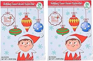 Holiday Advent Calendar Chocolates for Christmas, 24 Chocolate Days til' Christmas, Countdown Chocolate Calendar for Kids, Season Treats, Gift Ideas, Sweet Presents (Elf on The Shelf 2-Pack)
