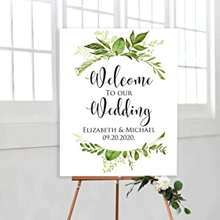 FabricMCC Personalized Wedding Welcome Sign Wood,Large Rustic Welcome Wedding Sign,Custom Engagement Wedding Party Entrance Signs