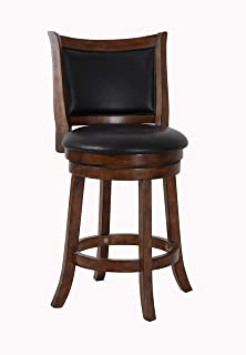 New Classic Furniture New Classic Bristol Swivel Counter Stool, Dark Brown/Black, 24-Inch