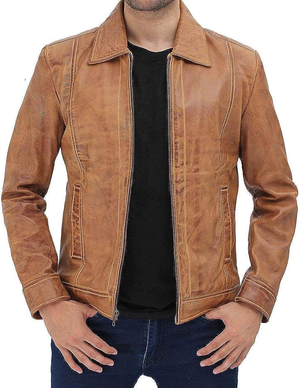 fjackets Leather Lightweight Jackets for Men - Vintage Style Shirt Collar Zip Up Jacket