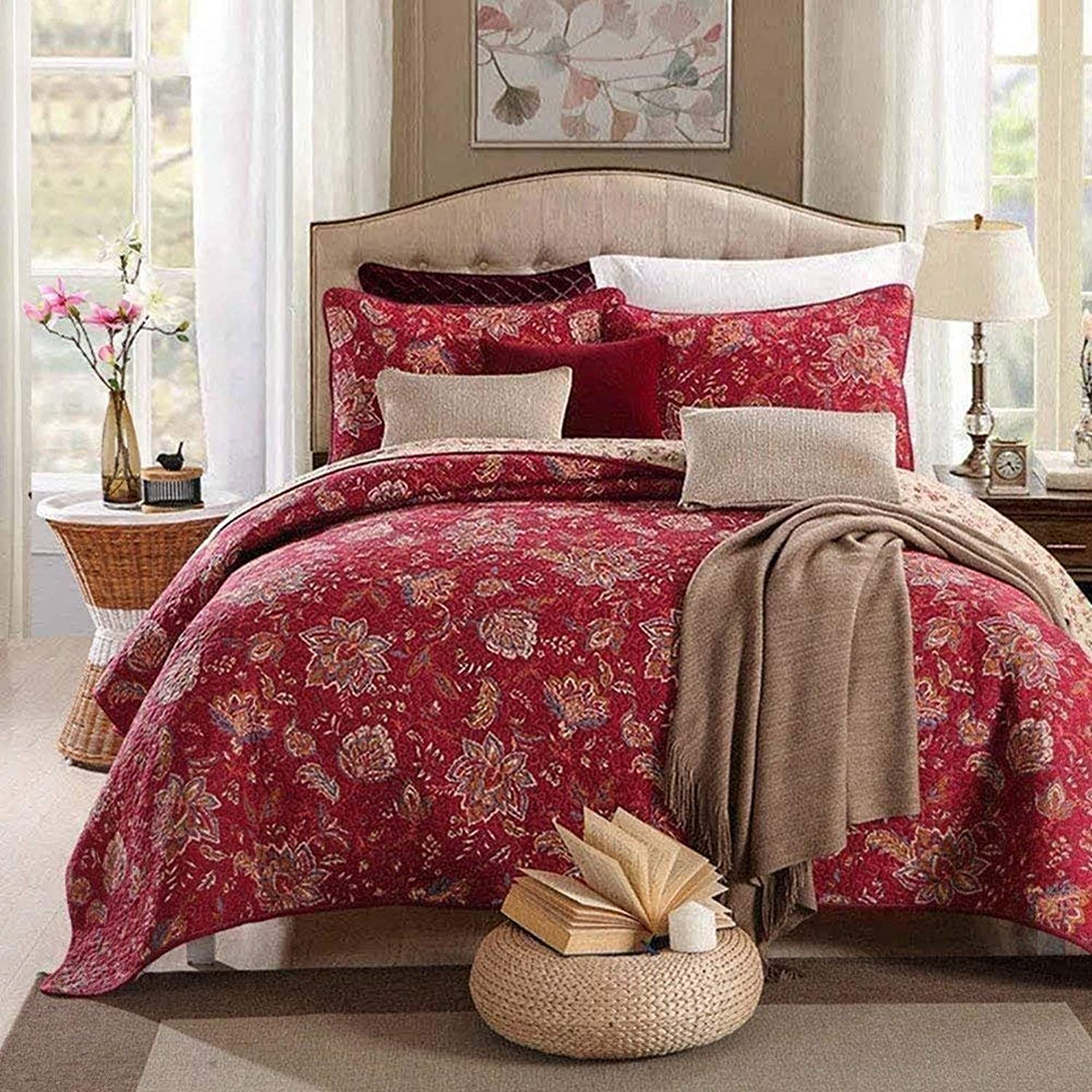 DOUH 3 Piece Quilt Set King Size(94 x106 ), Burgundy Flower Printed Patchwork Pattern, Lightweight Bedspread Coverlet Cover Set and Pillow Shams for All Season Bed Quilt Set