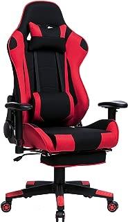 WOLTU® BS27rt Chaise de Gamer Fauteuil Gaming Chaise de Bureau Chaise de Jeu Racing avec Repose-tête et Repose-Pieds Accoudoir Ajustable Assise en Tissu, Rouge Noir