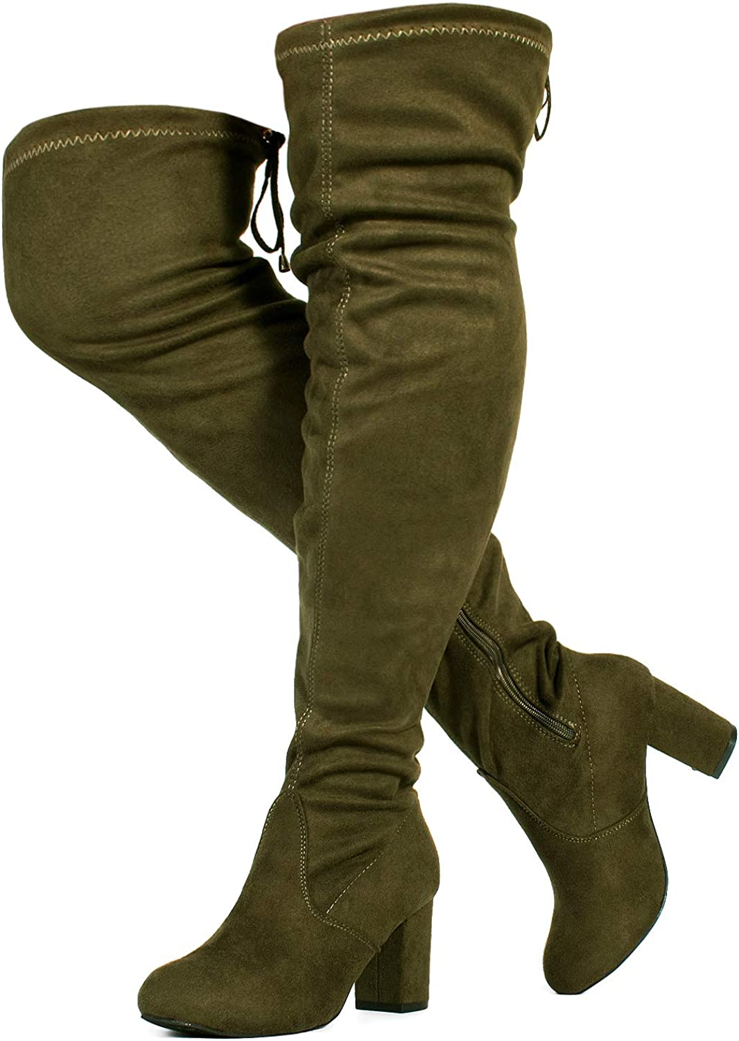 RF ROOM OF FASHION Women's Over The Knee Block Chunky Heel Stretch Boots (Medium and Wide Calf)