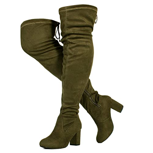 cb75d0e9587 RF ROOM OF FASHION Women s Over The Knee Block Chunky Heel Stretch Boots  (Medium and