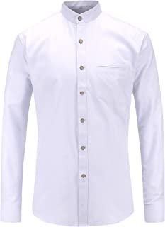 JEETOOオックスフォード バンドカラーシャツ メンズ 長袖 スタンドカラーシャツ ビジネスシャツ 無地 カジュアルシャツ