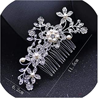 Rose Gold Color Wedding Hair Combs For Bride Crystal Rhinestones Pearls Women Hairpins Bridal Headpiece Hair Jewelry Accessories,Q 11.5x6.2cm Silver