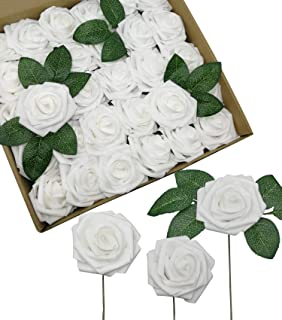 D-Seven Artificial Roses Flowers 30PCS Real Looking Fake Roses with Stem for DIY Wedding Bouquets Centerpieces Party Baby Shower Home Decorations(White)
