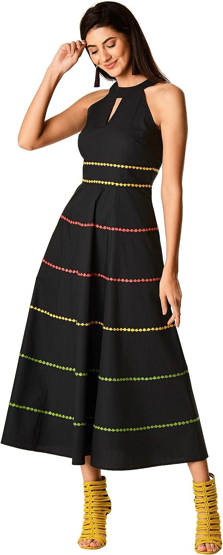 eShakti FX Embellished Tier Stretch poplin Dress- Customizable Neckline, Sleeve & Length