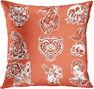 Benxii Throw Pillow Cover Flash Tattoos Pack Animals Eagle Simple Symbol Home Durable Soft Decorative Polyester Pillowcase Square Cushion Couch for Sofa 18x18 Inches