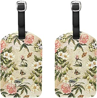 MASSIKOA Flowers and Birds Cruise Luggage Tags Suitcase Labels Bag,2 Pack