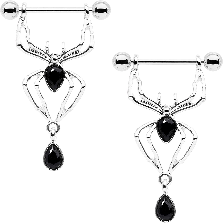 Body Candy 14G Womens Nipplerings Piercing 316L Steel 2Pc Spider Dangle Nipple Ring Set 9/16