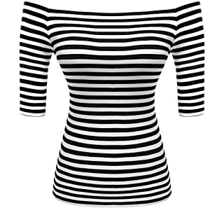 Best striped off shoulder top black and white Reviews