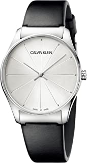 Calvin Klein Women's Stainless Steel Quartz Watch with Leather Strap, Black, 20 (Model: K4D211C6)