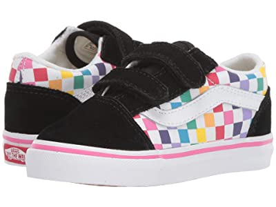 Vans Kids Old Skool V (Infant/Toddler) ((Checkerboard) Rainbow/True White) Girls Shoes