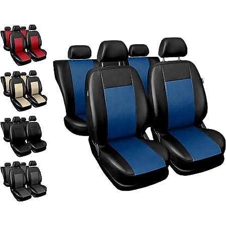 Carpendo Sitzbezüge Auto Set Autositzbezüge Schonbezüge Schwarz Blau Vordersitze Und Rücksitze Airbag Geeignet Comfort Auto