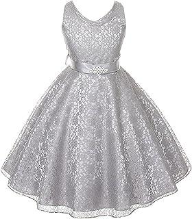 84d9f89816e Full Lace V-Neck Dress Satin Sash Rhinestone Brooch Flower Girl Dress