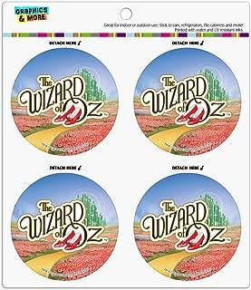The Wizard of Oz Ruby Slippers Logo Refrigerator Fridge Locker Vinyl Circle Magnet Set