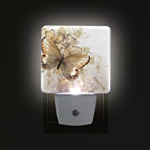 LORVIES Floral Background with Butterfly Plug in LED Night Light Auto Sensor Smart Dusk to Dawn Decorative Night for Bedroom, Bathroom, Kitchen, Hallway, Stairs,Hallway,Baby's Room, Energy Saving