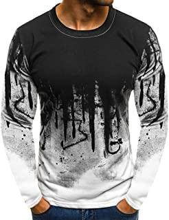 Men Long Sleeve Shirts Camouflage Print Slim Fit Crew Neck T Shirt Patchwork Blouse Casual Top