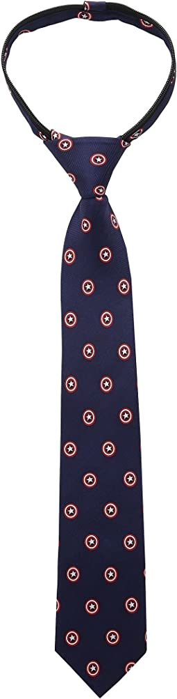 Cufflinks Inc. Captain America Shield Zipper Tie (Little Kids)