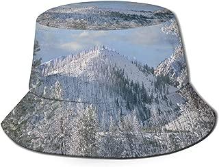 Winter in Yellowstone National Park Wyoming Bucket Hat Summer UV Sun Fisherman Cap Unisex for Travel Beach Outdoor Black