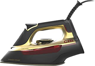 CHI Steam Iron for Clothes with Titanium Infused Ceramic Soleplate, 1700 Watts, XL 10' Cord, 3-Way Auto Shutoff, Professional Grade, Gold (13111)