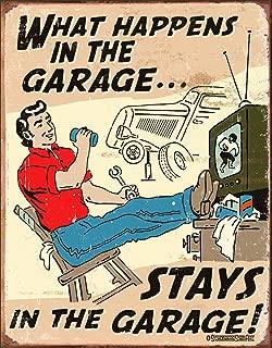 Desperate Enterprises Schonberg - What Happens in The Garage Tin Sign, 12.5