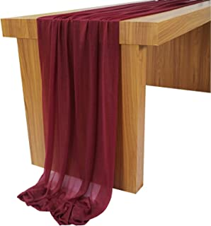 Lookein 10 Feet Burgundy Chiffon Table Runner Sheer Wedding Table Cloth 29x120 Inches Rustic Wedding Decorations French Ch...