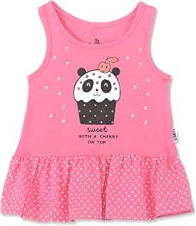 Lumex Dotted Cup-Cake Print Sleeveless Dress for Girls