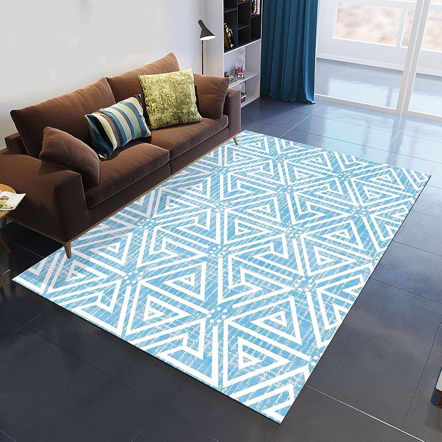キャベツチャレンジからかうファッションリビングルームソファサイドカーペット北欧ソファコーヒーテーブルカーペット現代のシンプルな幾何学的なカーペットブルー機洗える (Color : 140*200CM)