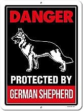 Honey Dew Gifts Beware of German Shepherd Signs, Danger Protected by German Shepherd 9 x 12 inch Beware of Dog Warning Metal Aluminum Sign, Guard Dog Sign