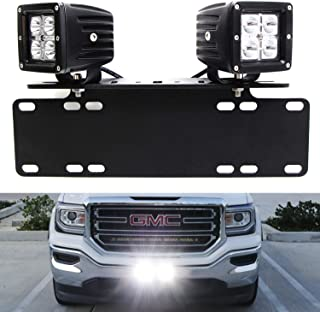 iJDMTOY LED Pod Light Driving Lamp Kit For Truck SUV etc, Includes (2) 20W High Power CREE LED Cubes, License Plate Location Mounting Brackets & On/Off Switch Wiring Kit