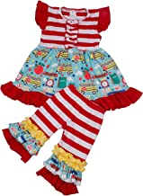 Baby Girl 2Pcs Boutique Clothing School Bus Print Girl Back to School Outfits