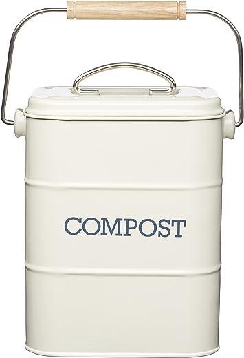 KitchenCraft Living Nostalgia Metall Küche Bioabfallbehälter, Arbeitsplatte/Unterschrank Mini Kompostlager und Recycling Lebensmittelabfall…