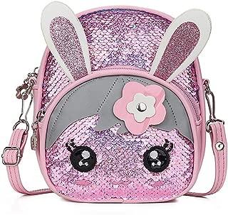 Girls Glitter Sequins Messenger Backpack Cute Rabbit Ears Crossbody Shoulder Bag for Kids