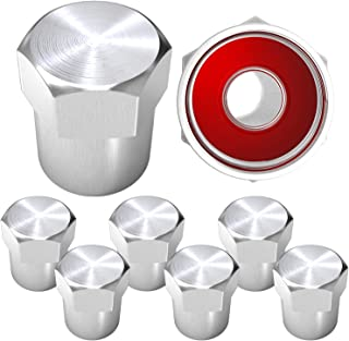 SAMIKIVA Brass Rubber Seal Tire Valve Stem Caps, Dust Proof Covers Universal fit for Cars, SUVs, Bike and Bicycle, Trucks, Motorcycles Flat Top (8 Pack) (Silver)