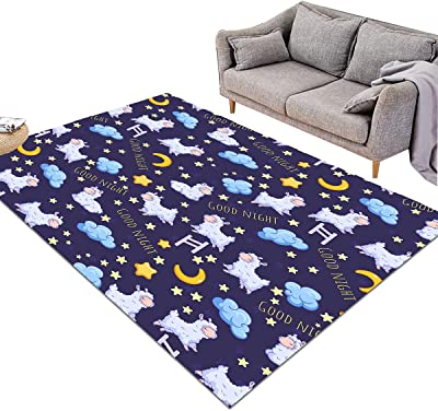 Sleepwish Night Sky Large Area Rug Moon Stars and Sheep Pattern Printed Navy Blue Large Carpet for Kids Teens Girls Bedroom Living Room Kitchen (3' x 5')