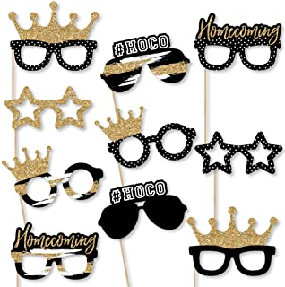 Big Dot of Happiness Hoco Dance - Glasses and Masks - Paper Card Stock Party Photo Booth Props Kit - 10 Count