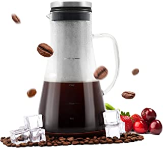 Airtight Cold Brew Iced Coffee Maker and Tea Infuser with Spout - 1.0L / 34oz Brewing System Glass Pitcher Carafe with Removable Stainless Steel Filter