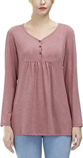 Women's Pullover V-neck Button Tunic Tops Long Sleeve Casual Simple T-Shirts