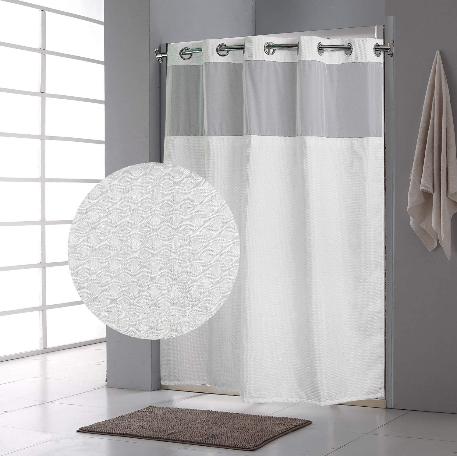 Fabritones Shower Curtain with Snap Max 63% OFF Liner in Pattern At the price Wate Waffle