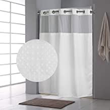 Fabritones Shower Curtain with Snap in Liner Waffle Pattern Waterproof 71x74 Inch Hook Free