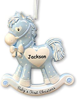 """Northlight 5.25/"""" White Glitter Rocking Horse with Gifts Glass Christmas Ornament"""