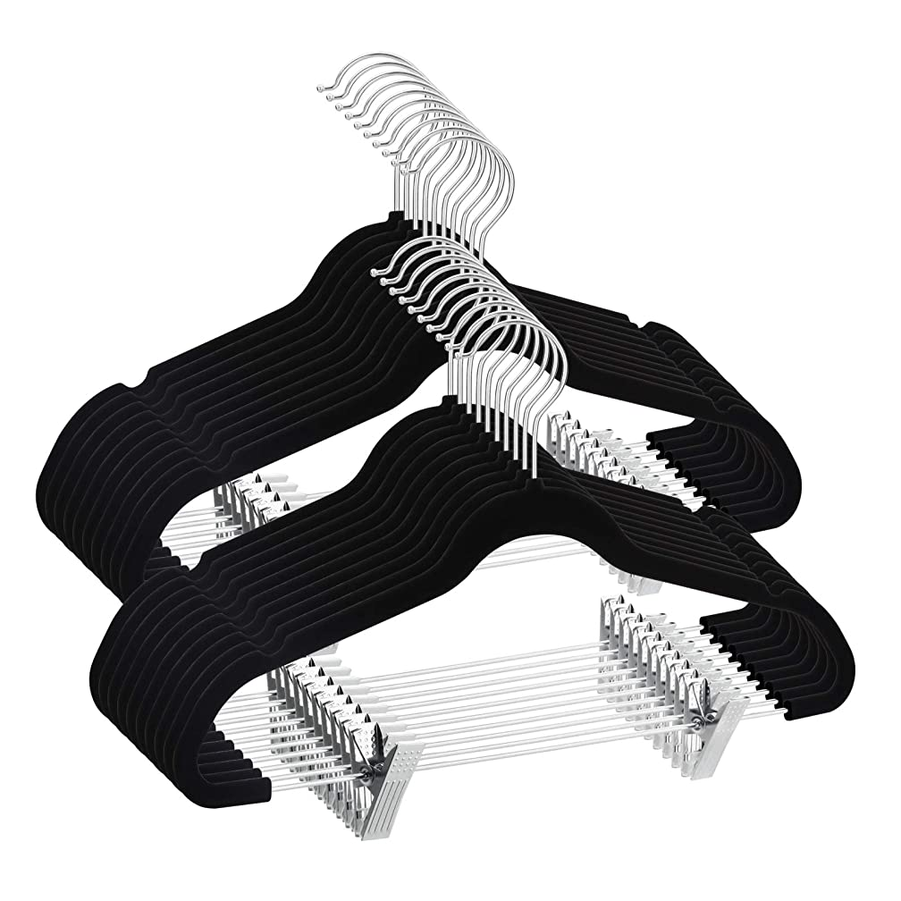 TIMMY Velvet Hangers with Clips 20 Pack Non Slip Clothes Hangers Ultra Thin for Pants Hangers Skirt Hangers with Swivel Hooks(Black)