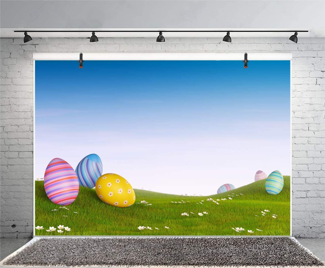 15x10ft Easter Backdrop Painted Eggs Photography Background Spring Flowers Green Meadow Kids Easter Photobooth Easter Home Photography School Events Video Church Activity Props