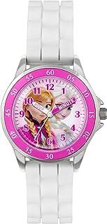 Frozen, orologio al quarzo con quadrante rosa per imparare a leggere l'ora, cinturino in gomma bianca, da bambina, FZN3550